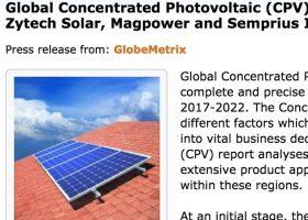 Informe sobre Placas Solares CPV: Zytech Solar     entre los líderes